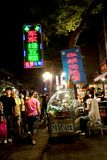 Night view of a tradicional street market, Stock Images