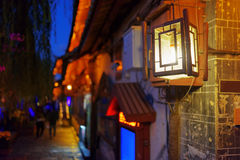 Night view of traditional Chinese street lamp in Lijiang Stock Images