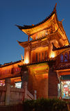 Night view of traditional Chinese wooden building in Lijiang Royalty Free Stock Photos