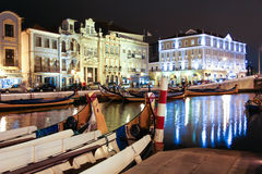 Night view the traditional moliceiro boats in the canal of Aveir. Night view the traditional moliceiro boats stopped in  the central canal of Aveiro city, in Royalty Free Stock Photo