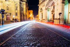 Night View of traffic lights in street in Prague Royalty Free Stock Image
