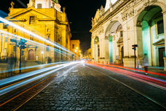 Night View of traffic lights in street in Prague Royalty Free Stock Photos