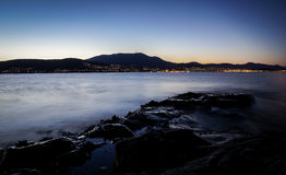Night view from Tranmere on the River Derwent in Hobart, Tasmania Royalty Free Stock Photos