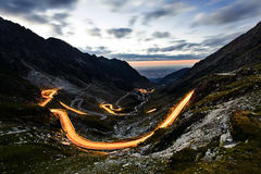 Night view of Transfagarasan serpentine in romanian Carpathians, Royalty Free Stock Photo