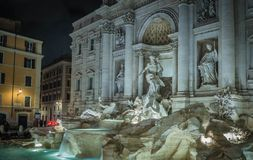 The Trevi Fountain. Night view of the Trevi Fountain, the largest baroque fountain in Rome, Italy. It is a popular tourist destination for millions of people Stock Photography