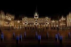 Night view with Trieste main square Piazza dell Unita dItalia. Night view with City Hall, Palazzo del Municipio, on Trieste`s main square Piazza dell Unita d` Stock Image