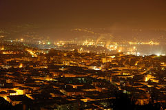Night View Of Trieste's Skyline Stock Images