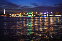 Night view of the Troitsky Bridge Royalty Free Stock Photo