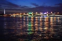 Night view of the Troitsky Bridge royalty free stock photo