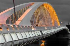Night view of the Troja Bridge from the river Vltava, Trojsky most, Prague, Czech republic Stock Photo