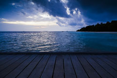 night view on a tropical beach Royalty Free Stock Photography