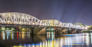 Night view of Truong Tien Bridge in Hue. Royalty Free Stock Images