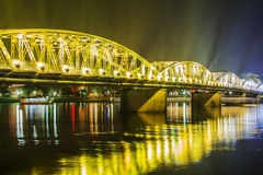 Night view of Truong Tien Bridge in Hue. Royalty Free Stock Photography