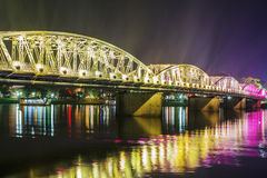 Night view of Truong Tien Bridge in Hue. Stock Photo
