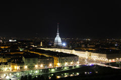 Night view of the Turin city center with Mole Antonelliana, Turin,Italy,Europe Stock Photography