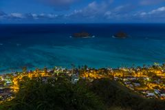 Night View of  Turquiose Pacific Ocean Mokulua Islands Royalty Free Stock Photography