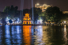 Night view of the Turtle Tow. Er in middle of the Hoan Kiem Lake Royalty Free Stock Photography
