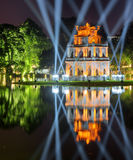 Night view of the Turtle Tower on the Hoan Kiem Lake, Hanoi Royalty Free Stock Photo