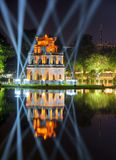 Night view of the Turtle Tower on the Hoan Kiem Lake in Hanoi Royalty Free Stock Photos