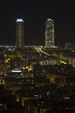 Night view of the twin towers in Barcelona Stock Photo