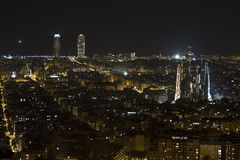 Night view of the twin towers, Barcelona Stock Images