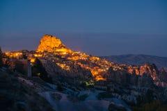 Night view of Uchisar fortress stock photos