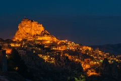 Night view of Uchisar fortress stock photo