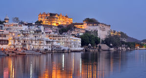 Night View of Udaipur, Rajasthan Stock Images