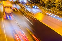 Night View of UK Motorway Highway Traffic.  Stock Photos