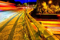 Night View of UK Motorway Highway Traffic stock photo