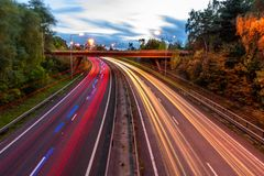 Night View of UK Motorway Highway Traffic.  Stock Photo