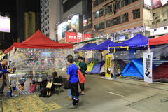 Night view of umbrella movement in Hong Kong 2014 Royalty Free Stock Photos