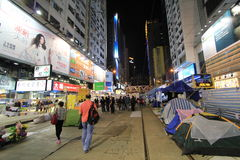 Night view of umbrella movement in Hong Kong 2014 Royalty Free Stock Image