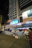 Night view of umbrella movement in Hong Kong 2014 Stock Photography