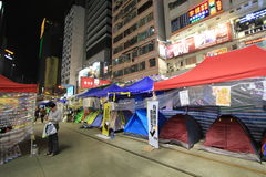 Night view of umbrella movement in Hong Kong Stock Image