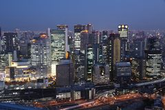 The night view from Umeda Sky Building royalty free stock image