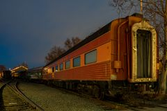 Night view of the Union Pacific train and tree Royalty Free Stock Photos