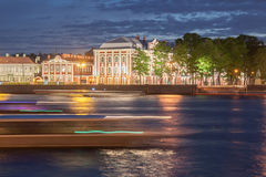 Night view university in St. Petersburg Royalty Free Stock Photography