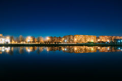 Night View Of Urban Residential Area Overlooks To City Lake Park Royalty Free Stock Photography