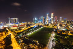 Night view with urban skyscrapers, Singapore Stock Photo