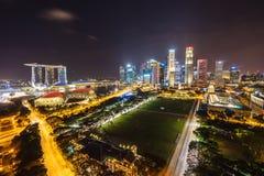 Night view with urban skyscrapers, Singapore Stock Photo