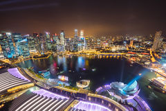 Night view with urban skyscrapers, Singapore Stock Photography