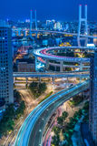 Night view of urban traffic with cityscape in Shanghai Stock Photo