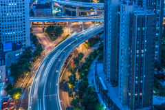 Night view of urban traffic with cityscape in Shanghai. China Royalty Free Stock Images