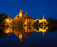 Night view of Vajdahunyad castle in Budapest Royalty Free Stock Photo