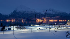 Night view of Valdez Alaska Royalty Free Stock Photos
