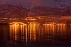 Night view of Valdez Alaska Stock Photos