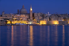 The night view of Valletta skyline from Sliema. Malta Royalty Free Stock Images