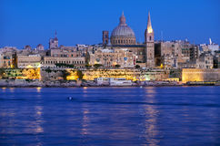 The night view of Valletta skyline from Sliema. Malta Stock Photos
