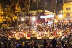 Night view of varanasi from. VARANASI - INDIA, MAY 4: Hindu people celebrate the ritual washing in the river Ganga in the holy city of Varanasi. The holy ritual Stock Photo